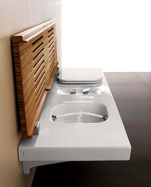 Bench with integrated toilet and bidet of Hatria / G-Full